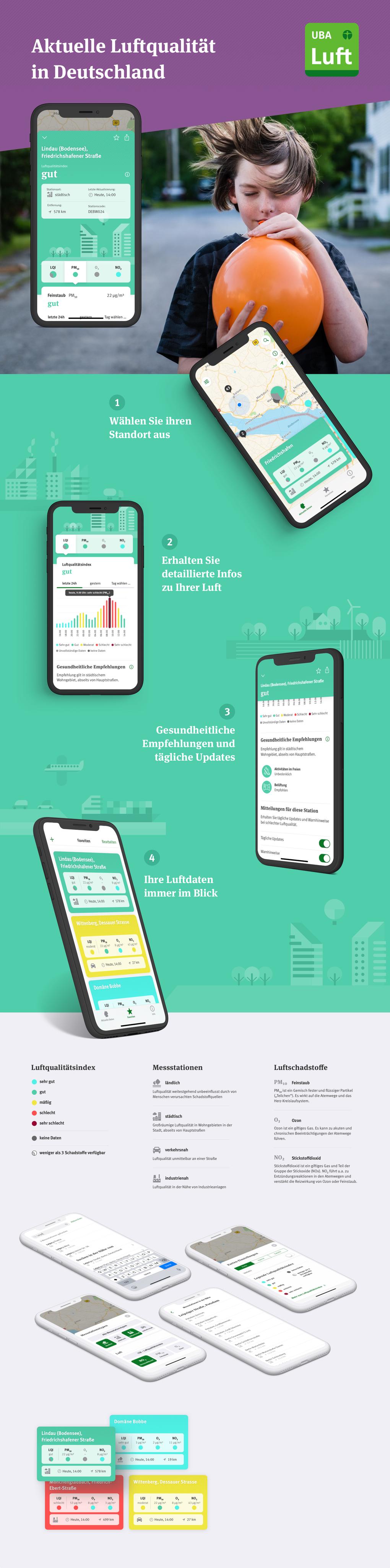 """Projektaufbereitung für die App """"Luftqualität"""" des Umweltbundesamtes"""
